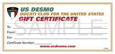 US DESMO Gift Certificate